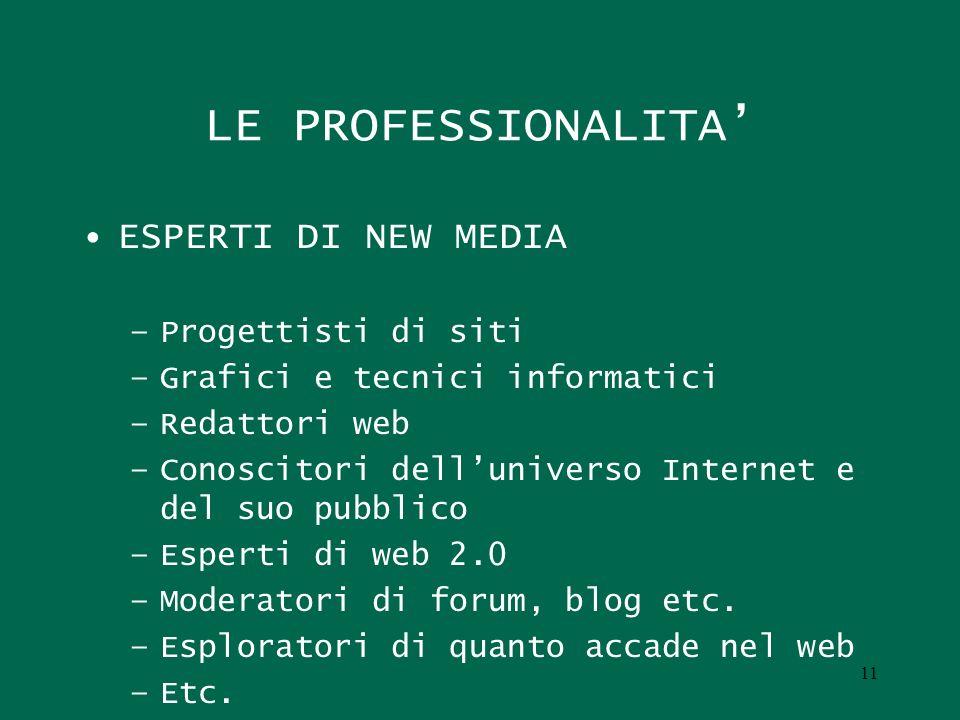 11 LE PROFESSIONALITA ESPERTI DI NEW MEDIA –Progettisti di siti –Grafici e tecnici informatici –Redattori web –Conoscitori delluniverso Internet e del
