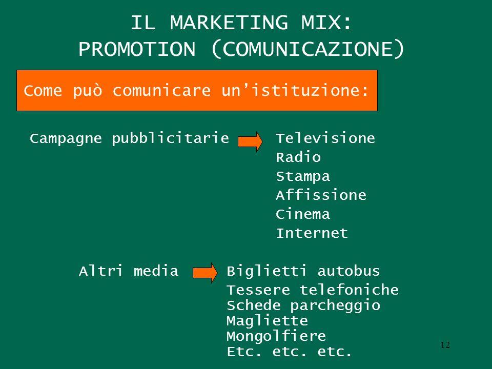 IL MARKETING MIX: PROMOTION (COMUNICAZIONE) Campagne pubblicitarieTelevisione Radio Stampa Affissione Cinema Internet Altri mediaBiglietti autobus Tes