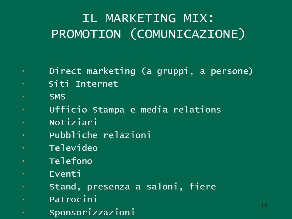 IL MARKETING MIX: PROMOTION (COMUNICAZIONE) · Direct marketing (a gruppi, a persone) · Siti Internet · SMS · Ufficio Stampa e media relations · Notizi