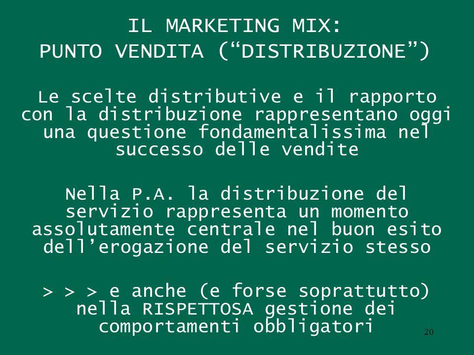 IL MARKETING MIX: PUNTO VENDITA (DISTRIBUZIONE) Le scelte distributive e il rapporto con la distribuzione rappresentano oggi una questione fondamental