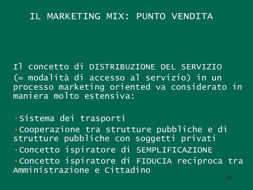 IL MARKETING MIX: PUNTO VENDITA Il concetto di DISTRIBUZIONE DEL SERVIZIO (= modalità di accesso al servizio) in un processo marketing oriented va con