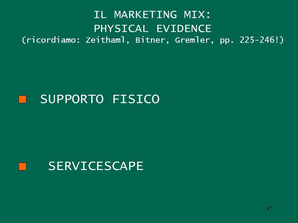 IL MARKETING MIX: PHYSICAL EVIDENCE (ricordiamo: Zeithaml, Bitner, Gremler, pp. 225-246!) SUPPORTO FISICO SERVICESCAPE 47