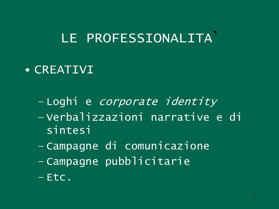 7 LE PROFESSIONALITA CREATIVI –Loghi e corporate identity –Verbalizzazioni narrative e di sintesi –Campagne di comunicazione –Campagne pubblicitarie –
