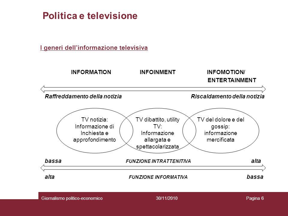 Politica e televisione Giornalismo politico-economicoPagina 730/11/2010 Diversi generi TALK POLITICI (Es.; Annozero, Ballarò….) TALK DOPINIONE (Es.: Matrix, Porta a Porta …) PROGRAMMI DI INTRATTENIMENTO CON FINALITÀ INFORMATIVA (Es.: Striscia la notizia, Le Iene …)