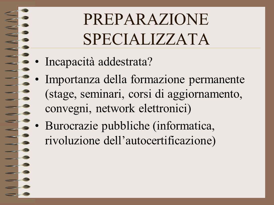 PREPARAZIONE SPECIALIZZATA Incapacità addestrata? Importanza della formazione permanente (stage, seminari, corsi di aggiornamento, convegni, network e