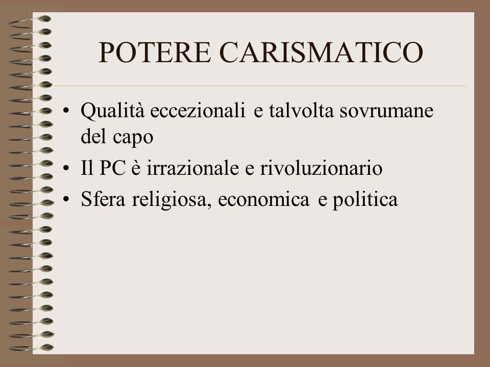 POTERE CARISMATICO Qualità eccezionali e talvolta sovrumane del capo Il PC è irrazionale e rivoluzionario Sfera religiosa, economica e politica