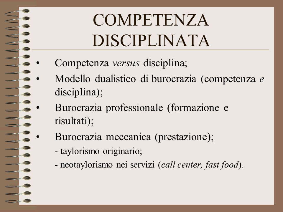 COMPETENZA DISCIPLINATA versusCompetenza versus disciplina; eModello dualistico di burocrazia (competenza e disciplina); Burocrazia professionale (for