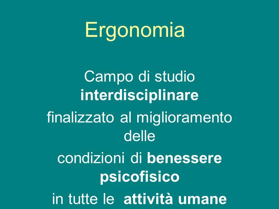 Ergonomia Campo di studio interdisciplinare finalizzato al miglioramento delle condizioni di benessere psicofisico in tutte le attività umane