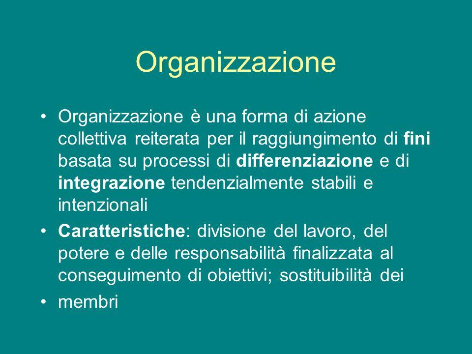 Organizzazione Organizzazione è una forma di azione collettiva reiterata per il raggiungimento di fini basata su processi di differenziazione e di int