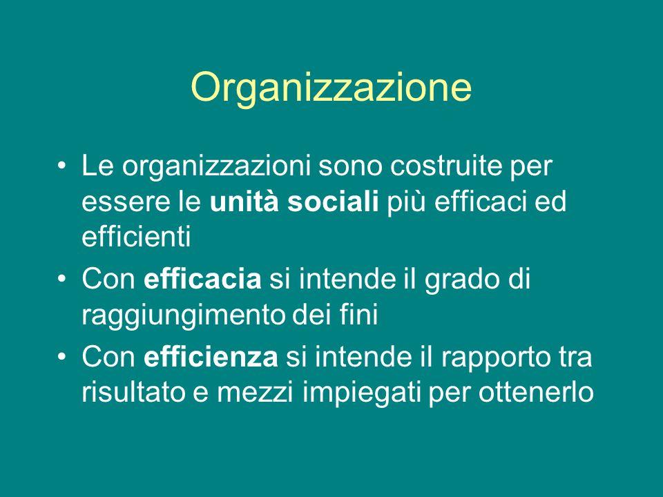 Organizzazione Le organizzazioni sono costruite per essere le unità sociali più efficaci ed efficienti Con efficacia si intende il grado di raggiungim