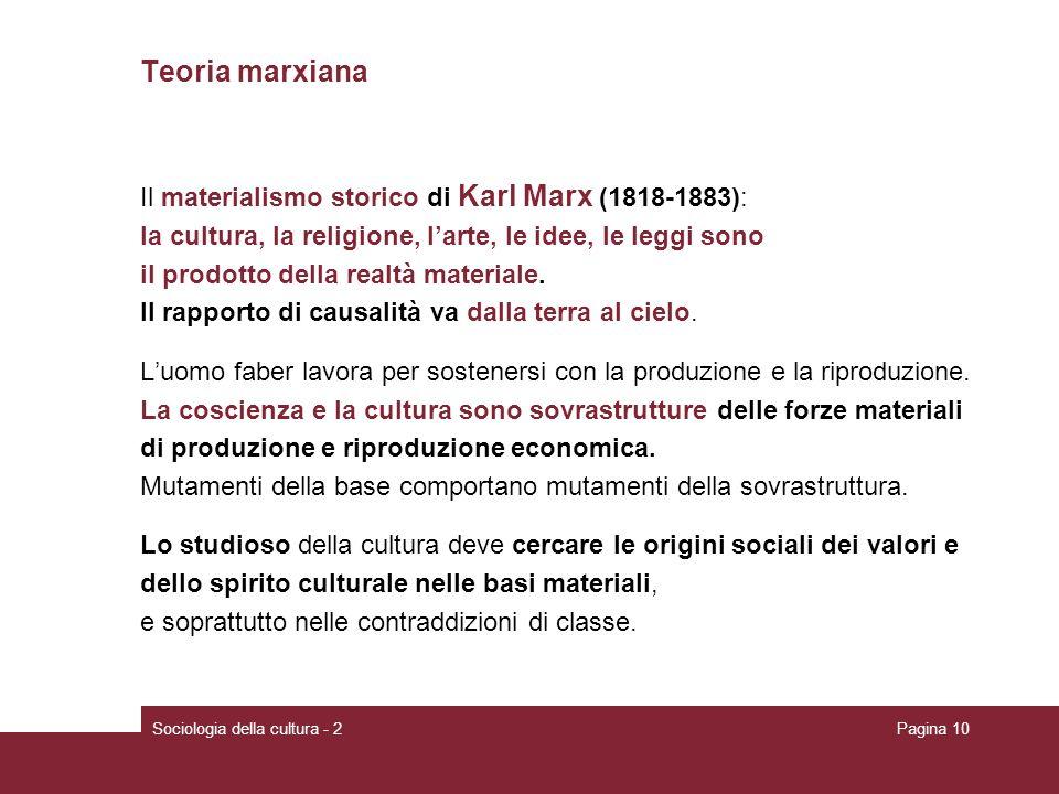 Sociologia della cultura - 2Pagina 10 Teoria marxiana Il materialismo storico di Karl Marx (1818-1883): la cultura, la religione, larte, le idee, le leggi sono il prodotto della realtà materiale.