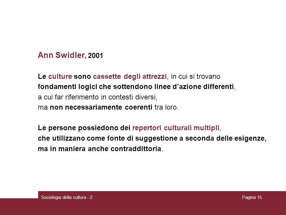 Sociologia della cultura - 2Pagina 15 Ann Swidler, 2001 Le culture sono cassette degli attrezzi, in cui si trovano fondamenti logici che sottendono linee dazione differenti, a cui far riferimento in contesti diversi, ma non necessariamente coerenti tra loro.