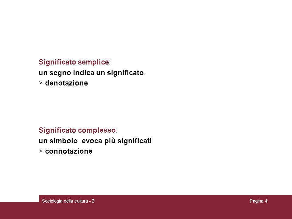 Sociologia della cultura - 2Pagina 4 Significato semplice: un segno indica un significato. > denotazione Significato complesso: un simbolo evoca più s