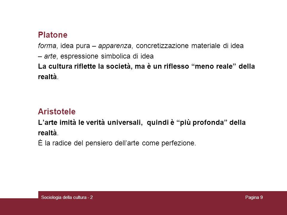 Sociologia della cultura - 2Pagina 9 Platone forma, idea pura – apparenza, concretizzazione materiale di idea – arte, espressione simbolica di idea La cultura riflette la società, ma è un riflesso meno reale della realtà.