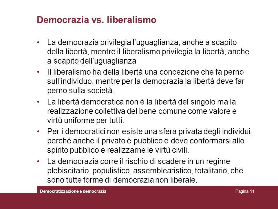 Democrazia vs. liberalismo La democrazia privilegia luguaglianza, anche a scapito della libertà, mentre il liberalismo privilegia la libertà, anche a