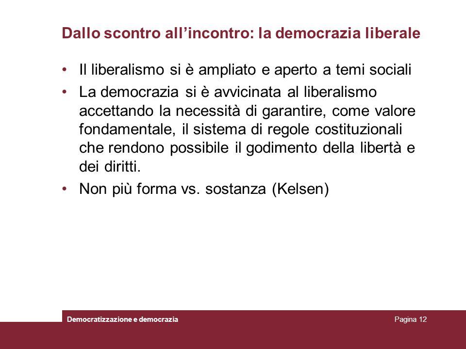 Dallo scontro allincontro: la democrazia liberale Il liberalismo si è ampliato e aperto a temi sociali La democrazia si è avvicinata al liberalismo ac