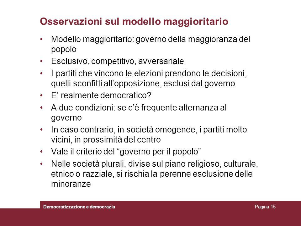 Osservazioni sul modello maggioritario Modello maggioritario: governo della maggioranza del popolo Esclusivo, competitivo, avversariale I partiti che