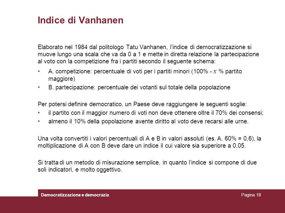 Indice di Vanhanen Elaborato nel 1984 dal politologo Tatu Vanhanen, lindice di democratizzazione si muove lungo una scala che va da 0 a 1 e mette in d