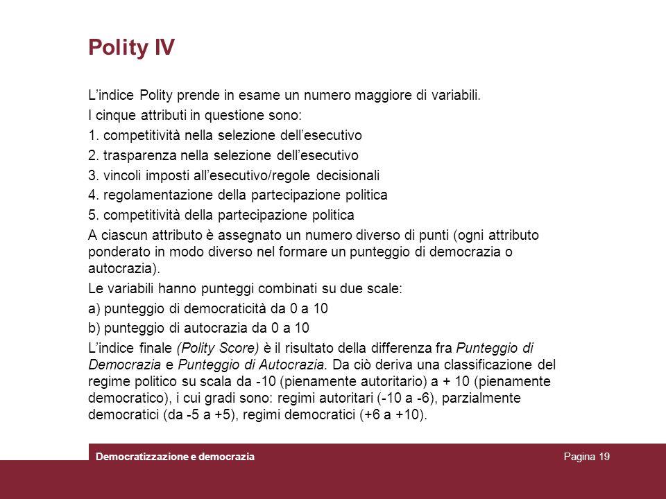 Polity IV Lindice Polity prende in esame un numero maggiore di variabili. I cinque attributi in questione sono: 1. competitività nella selezione delle