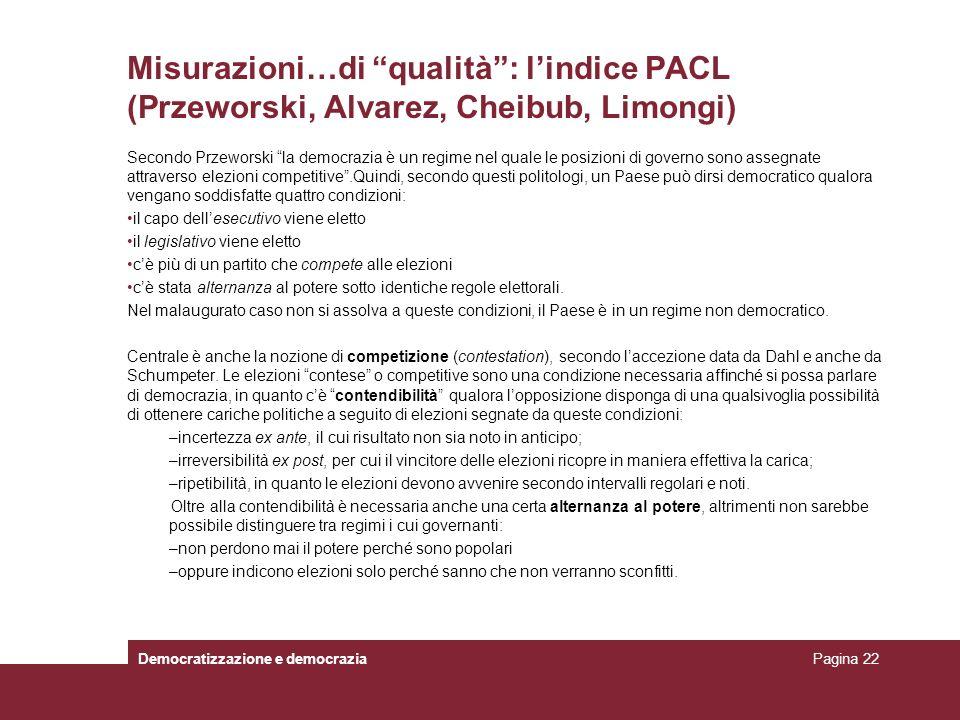 Misurazioni…di qualità: lindice PACL (Przeworski, Alvarez, Cheibub, Limongi) Secondo Przeworski la democrazia è un regime nel quale le posizioni di go