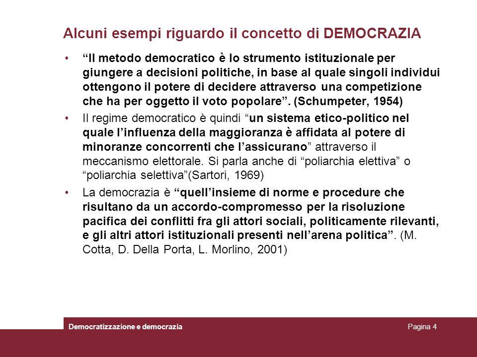 Alcuni esempi riguardo il concetto di DEMOCRAZIA Il metodo democratico è lo strumento istituzionale per giungere a decisioni politiche, in base al qua