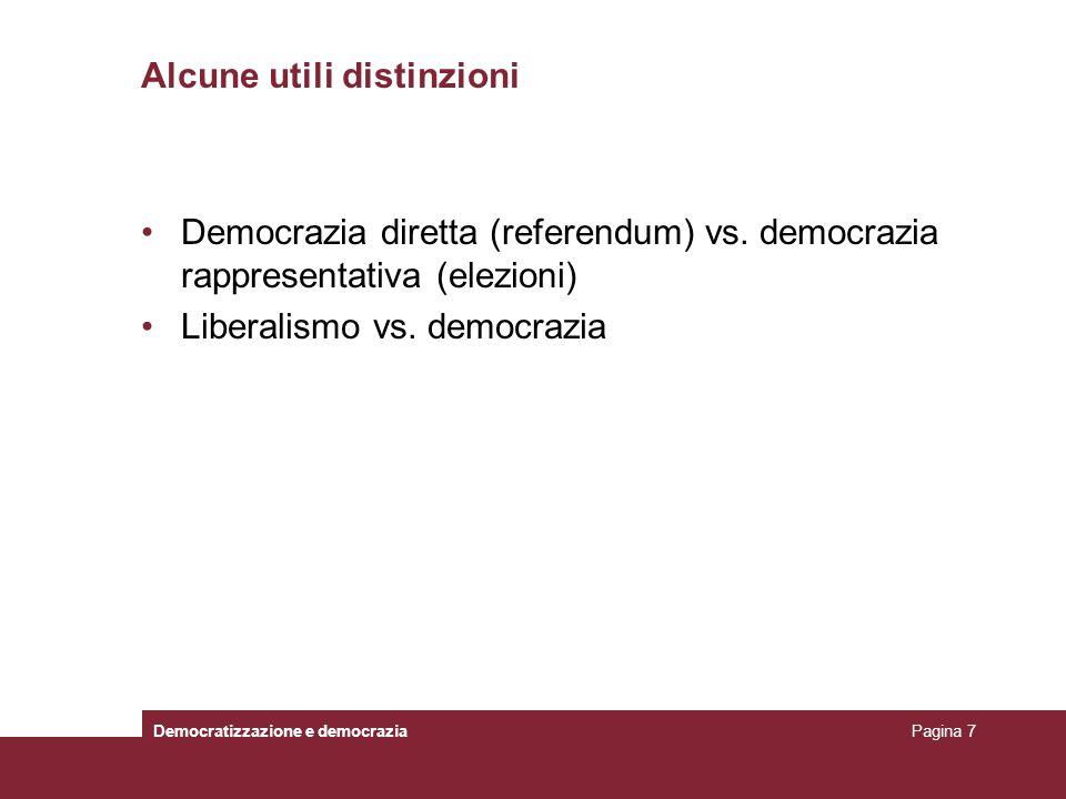 Alcune utili distinzioni Democratizzazione e democraziaPagina 7 Democrazia diretta (referendum) vs. democrazia rappresentativa (elezioni) Liberalismo