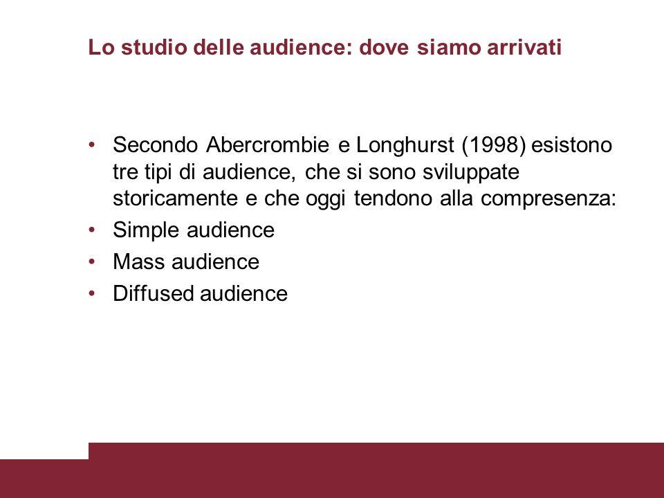 Lo studio delle audience: dove siamo arrivati Secondo Abercrombie e Longhurst (1998) esistono tre tipi di audience, che si sono sviluppate storicament