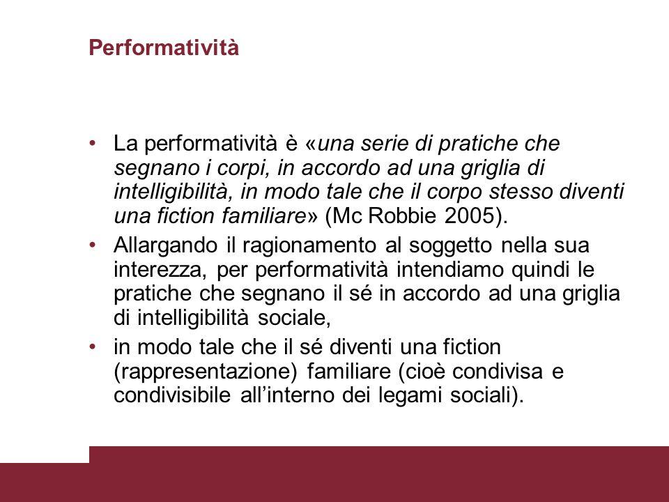 Performatività La performatività è «una serie di pratiche che segnano i corpi, in accordo ad una griglia di intelligibilità, in modo tale che il corpo
