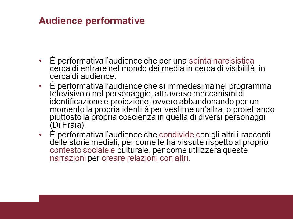 Audience performative È performativa laudience che per una spinta narcisistica cerca di entrare nel mondo dei media in cerca di visibilità, in cerca d