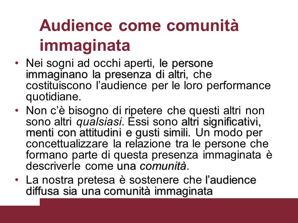 Audience come comunità immaginata le persone immaginano la presenza di altriNei sogni ad occhi aperti, le persone immaginano la presenza di altri, che