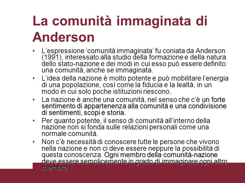 La comunità immaginata di Anderson Lespressione comunità immaginata fu coniata da Anderson (1991), interessato alla studio della formazione e della na
