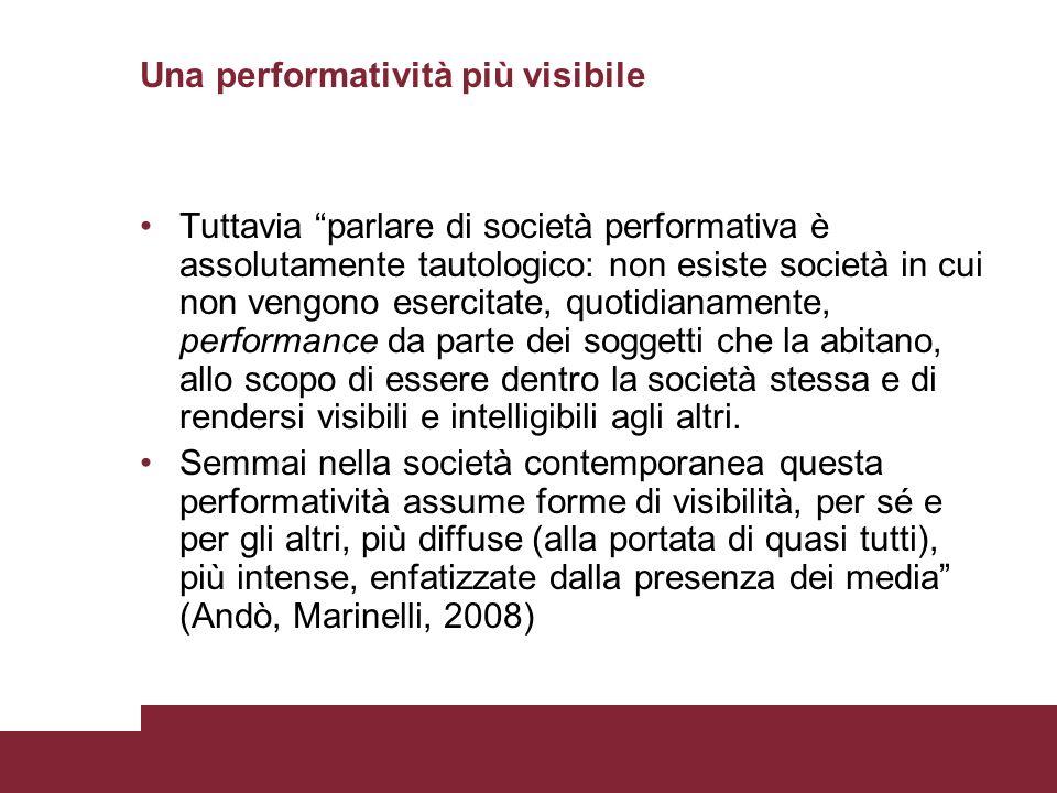 Una performatività più visibile Tuttavia parlare di società performativa è assolutamente tautologico: non esiste società in cui non vengono esercitate