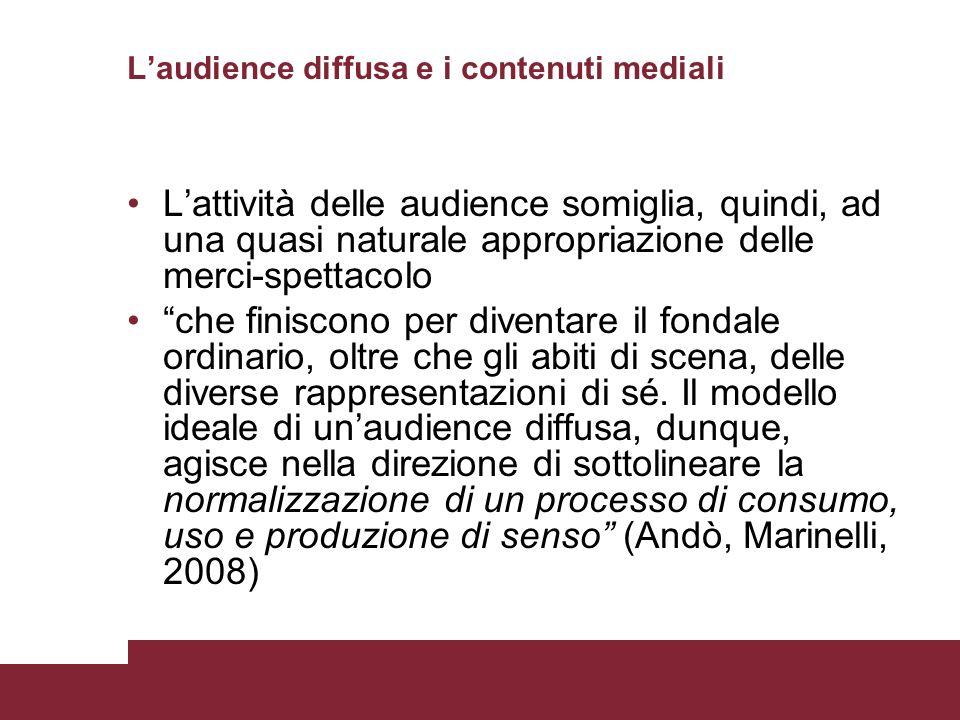 Laudience diffusa e i contenuti mediali Lattività delle audience somiglia, quindi, ad una quasi naturale appropriazione delle merci-spettacolo che fin