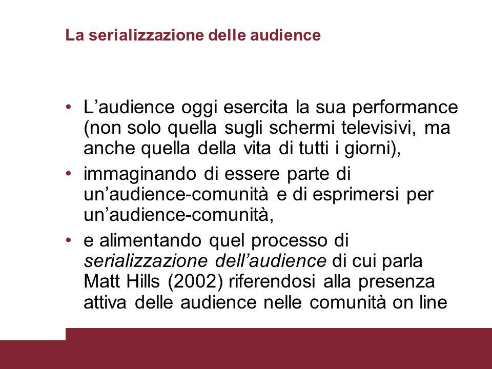 La serializzazione delle audience Laudience oggi esercita la sua performance (non solo quella sugli schermi televisivi, ma anche quella della vita di