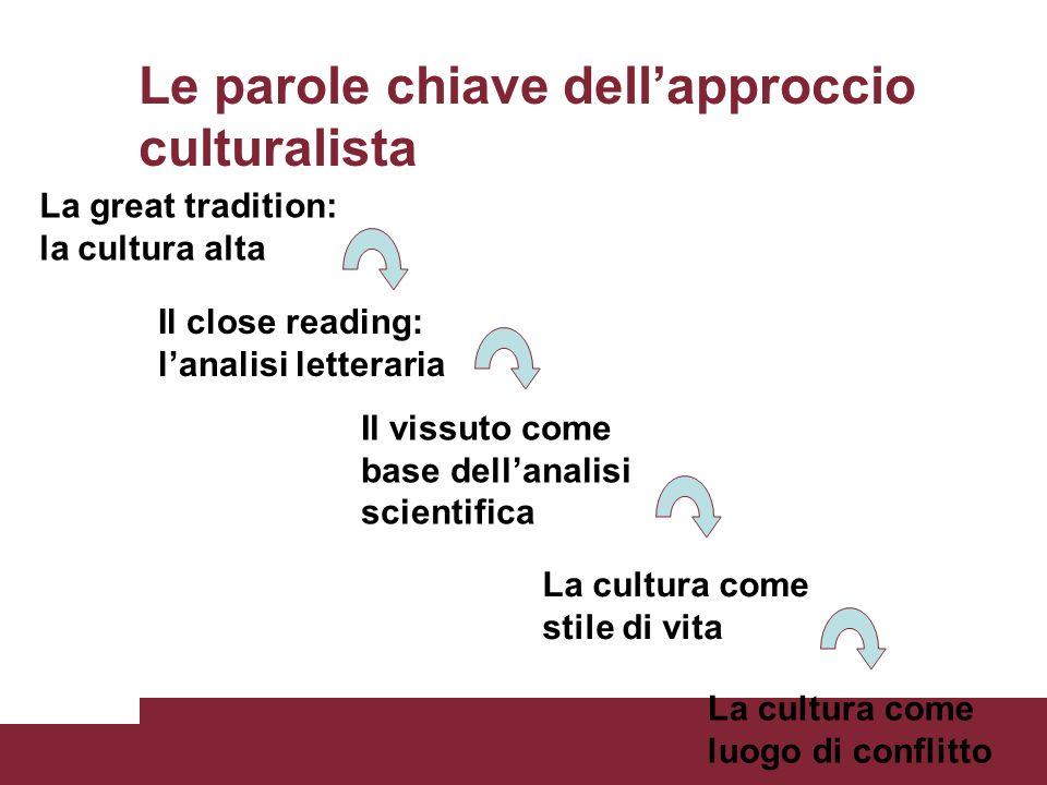 Le parole chiave dellapproccio culturalista La great tradition: la cultura alta Il close reading: lanalisi letteraria Il vissuto come base dellanalisi