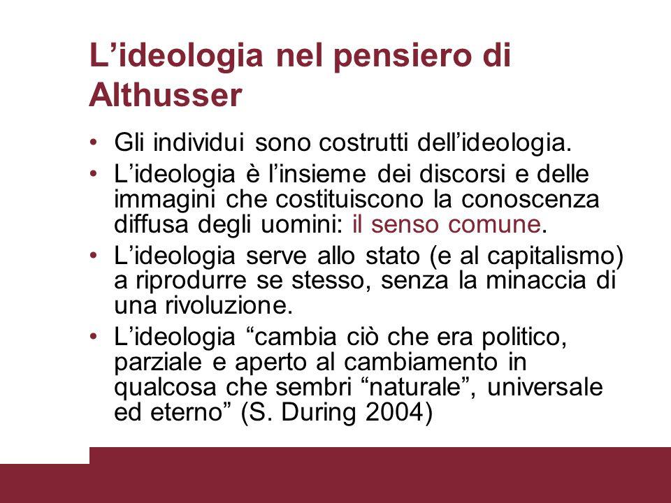 Lideologia nel pensiero di Althusser Gli individui sono costrutti dellideologia. Lideologia è linsieme dei discorsi e delle immagini che costituiscono