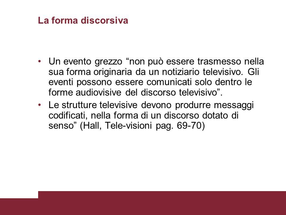 La forma discorsiva Un evento grezzo non può essere trasmesso nella sua forma originaria da un notiziario televisivo. Gli eventi possono essere comuni