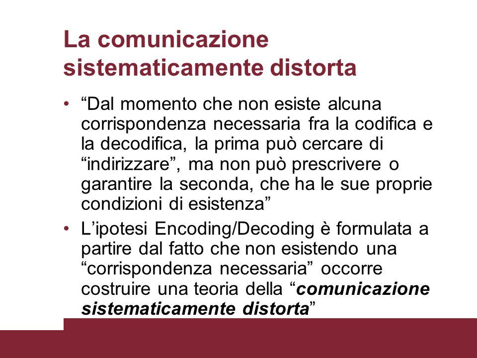 La comunicazione sistematicamente distorta Dal momento che non esiste alcuna corrispondenza necessaria fra la codifica e la decodifica, la prima può c