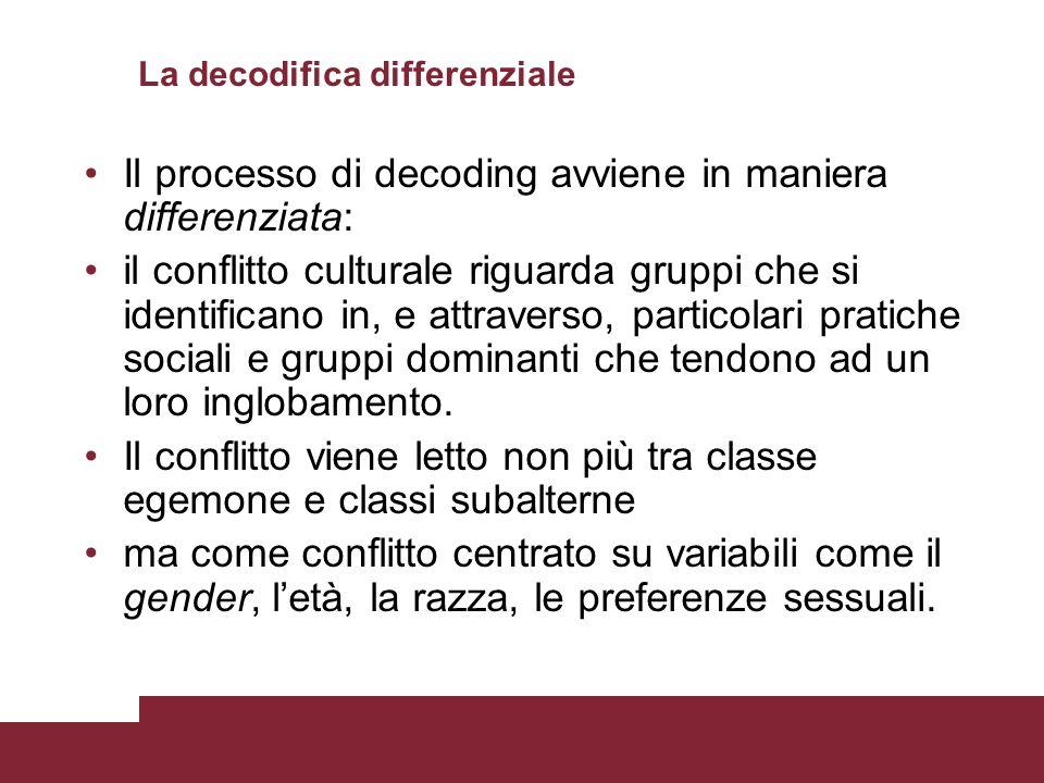 La decodifica differenziale Il processo di decoding avviene in maniera differenziata: il conflitto culturale riguarda gruppi che si identificano in, e