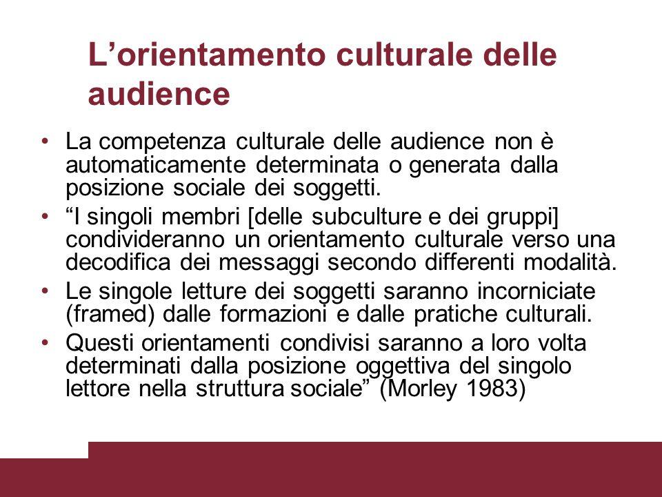 Lorientamento culturale delle audience La competenza culturale delle audience non è automaticamente determinata o generata dalla posizione sociale dei