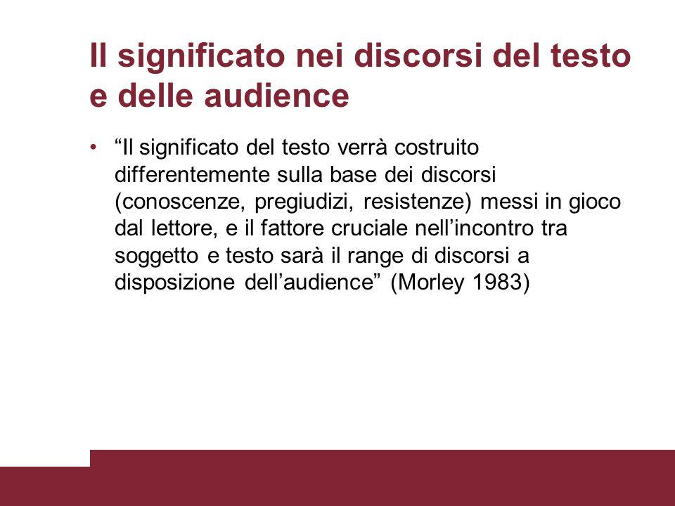 Il significato nei discorsi del testo e delle audience Il significato del testo verrà costruito differentemente sulla base dei discorsi (conoscenze, p
