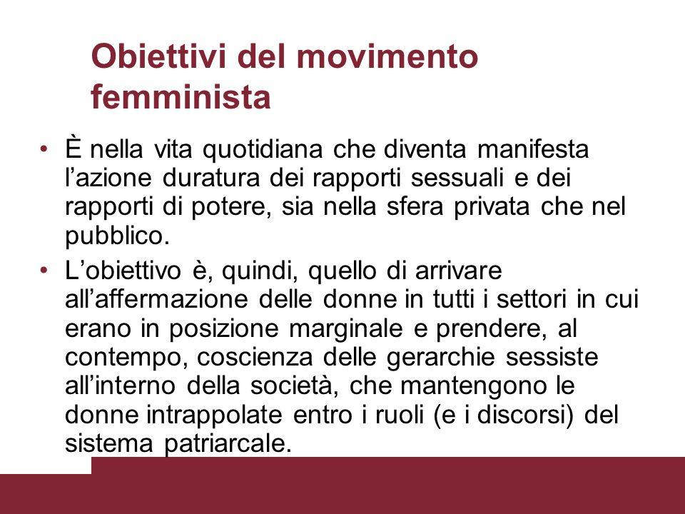 Obiettivi del movimento femminista È nella vita quotidiana che diventa manifesta lazione duratura dei rapporti sessuali e dei rapporti di potere, sia