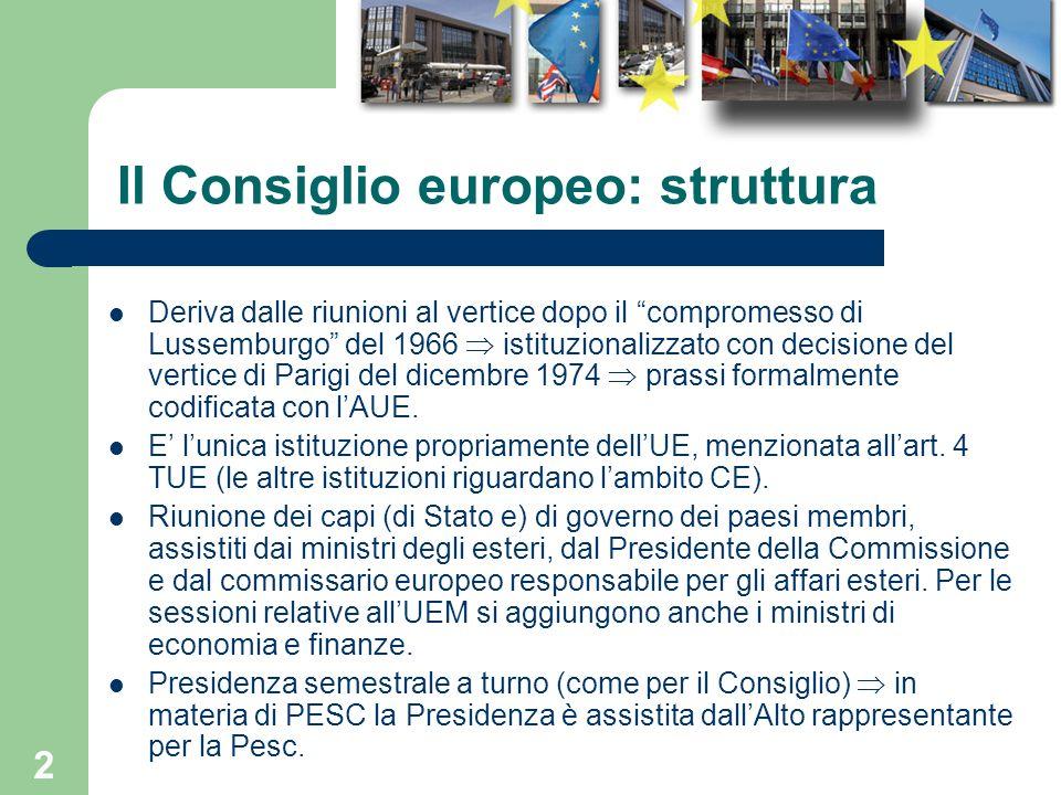 2 Il Consiglio europeo: struttura Deriva dalle riunioni al vertice dopo il compromesso di Lussemburgo del 1966 istituzionalizzato con decisione del ve