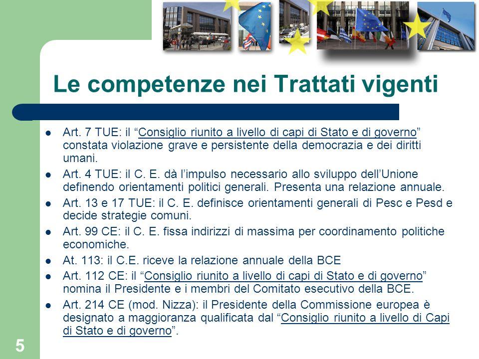 5 Le competenze nei Trattati vigenti Art. 7 TUE: il Consiglio riunito a livello di capi di Stato e di governo constata violazione grave e persistente
