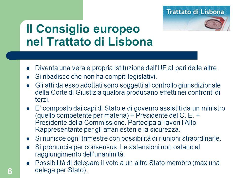 6 Il Consiglio europeo nel Trattato di Lisbona Diventa una vera e propria istituzione dellUE al pari delle altre. Si ribadisce che non ha compiti legi