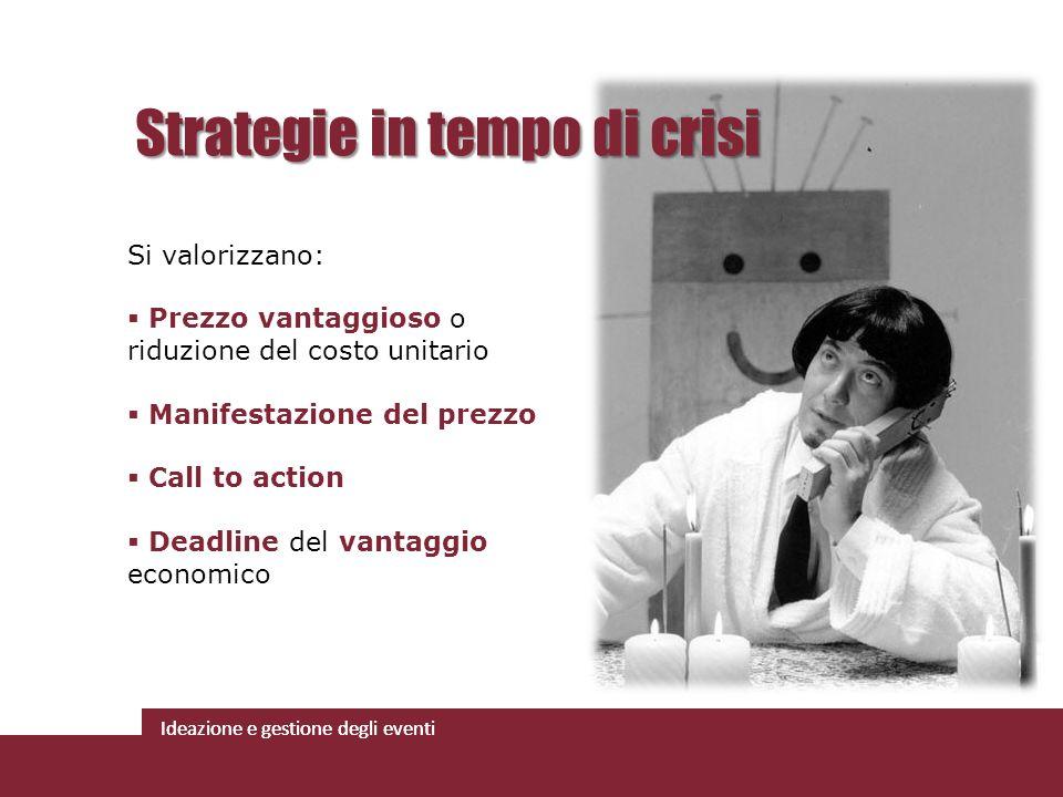Ideazione e gestione degli eventi Strategie in tempo di crisi Si valorizzano: Prezzo vantaggioso o riduzione del costo unitario Manifestazione del pre