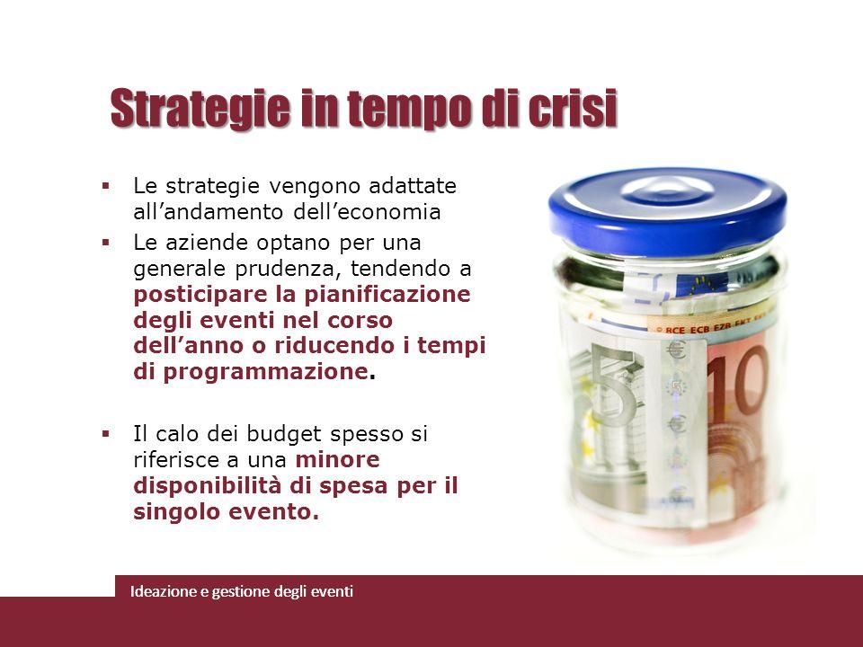 Ideazione e gestione degli eventi Le strategie vengono adattate allandamento delleconomia Le aziende optano per una generale prudenza, tendendo a post
