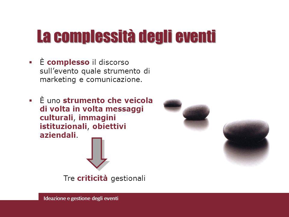 Ideazione e gestione degli eventi È complesso il discorso sullevento quale strumento di marketing e comunicazione. È uno strumento che veicola di volt