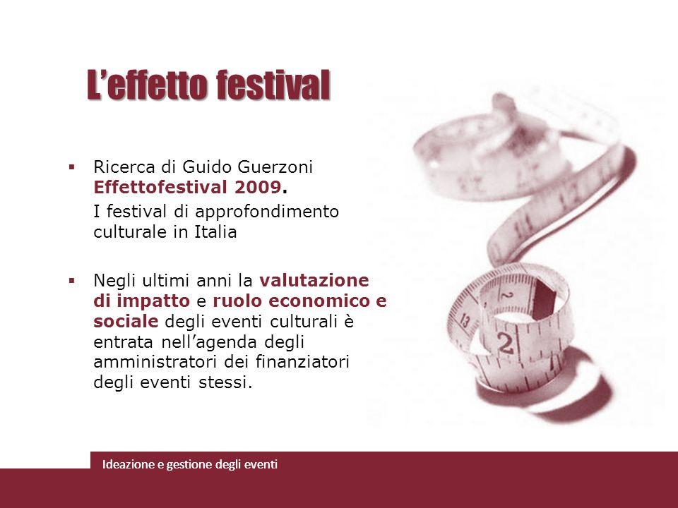 Ideazione e gestione degli eventi Ricerca di Guido Guerzoni Effettofestival 2009. I festival di approfondimento culturale in Italia Negli ultimi anni