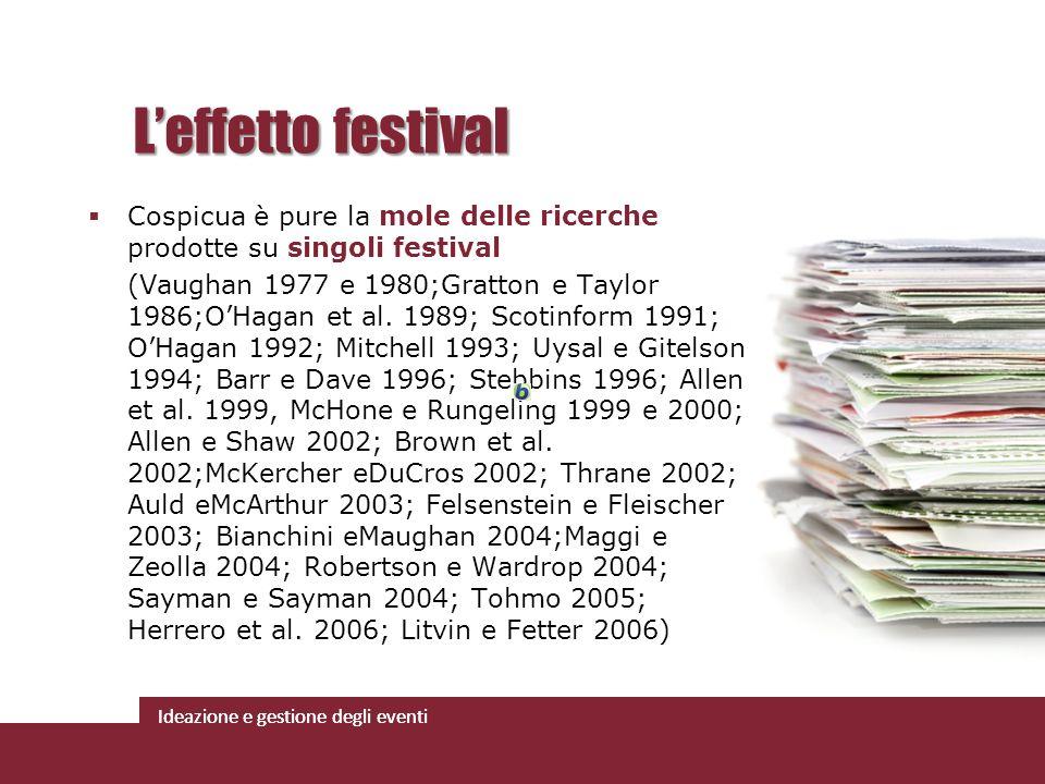 Ideazione e gestione degli eventi Cospicua è pure la mole delle ricerche prodotte su singoli festival (Vaughan 1977 e 1980;Gratton e Taylor 1986;OHaga
